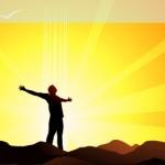 Vitamin D from Sunlight: Man on Mountain
